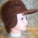 Vintage brown corduroy ear flap hat cap winter fall quilted lining made in Korea