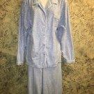Lightweight plush sleep lounge pj pajama top pants XXL blue white polka dot soft