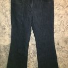 NEW YORK & CO.  stretch denim blue jeans dark wash mid rise wide leg retro style