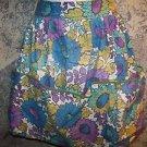 Vintage womens half apron 70s floral flowers retro mid thigh length back tie