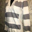 SO gray ivory stripe stretch knit hoodie pullover deep v-neck soft slimfit M