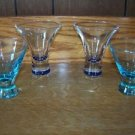 "4 blue aqua tinted 3-4"" shot ? cordial glasses BARCADI small base bell shaped GC"