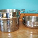 "2 Large stock pot steamer deep fryer inserts heavy stainless steel 9"" high EUC"