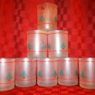 Lot of 8 frosted glass modern CHRISTmas tree design pattern glasses tumblers GUC