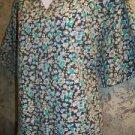 JASCO green floral v-neck scrubs top nurse dental vet medical uniform women L