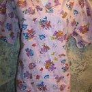 Purple teddy bear fishing fish pullover scrubs top dental medical nurse vet XS
