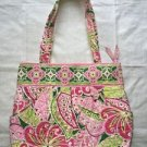 VERA BRADLEY pink green quilted fabric handbag purse abstract floral geometric