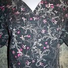 Pink ribbon breast cancer  v-neck pullover scrubs top dental medical nurse M