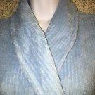 Powder blue soft shawl collar wrap tie bath bed robe OSFM pockets HOTEL SPA COLL