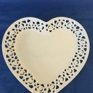 "I GODINGER ivory heart shaped floral lattice edge plate dish 10"" Valentines Day"
