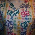 Bright abstract flower butterfly pullover vneck scrubs top nurse medical women L