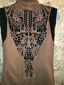 Lightweight crochet back flowing open front vest top brown S asymmetrical hem