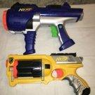 2 NERF N STRIKE DART TAG foam bullet guns pistols yellow orange blue handguns