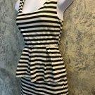 Black ivory open elastic strap back striped dress MONTEAU ruffle tier stretch