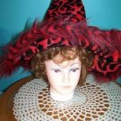 Red black faux fur flame plush pointy witch hat costume Halloween whimsical fun