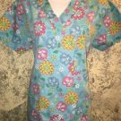 Turquoise bright flowers v-neck scrubs uniform top dental medical nurse vet XS