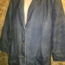EDDIE BAUER line denim jean color lined blazer jacket 3/4 sleeve patch pockets