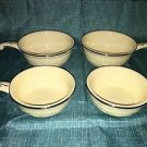 4 HOMER LAUGHLIN Oven Serve handled French casserole dishes bowls embossed rose