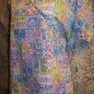 Pink ribbon breast cancer insect mock wrap v-neck scrubs top nurse dental vet M