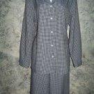 TOG SHOP black white gingham check elastic waist pant suit button down shirt L
