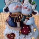 "Tin snowmen lantern style votive candle holder light 12"" handle winter heart sno"