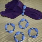 Lot of 5 gray stone or ceraminc bead look napkin rings natural beach tribal GUC