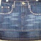 Girl's size 7 denim jean skirt beaded sequins dark wash VANILLA school clothes