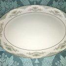 MIKASA Minuet 209 Japan china platter oval 12x16 elegant blue scroll fan flowers