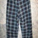 Fleece plaid sleep lounge pj pajama bottoms pants M gray black warm boxer style