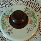"""Vintage enamelware heavy pot lid cover approx. 6"""" quality bakelite ivory floral"""