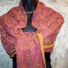 "36x86"" Indian dupatta scarf shawl wrap silk chiffon ? hand painted fabric sheer"