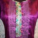 OOAK kurti kutra dress shiny purple irridescent sheer handmade craft embellished