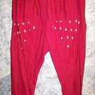 Salwar trousers India tight scrunched bunched skinny ankle pants red handpainted