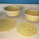 6 pc TEMP TATIONS yellow polka dot casserole dishes presentable ovenware set GUC