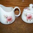 Creamer sugar set antique mid century KNOWLES Coral Pine pink flower retro GUC