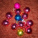 """12 pink blue gold 7/8"""" balls CHRISTmas feather tree ornaments mercury glass ? VC"""