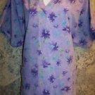 Purple blue floral flowers v-neck scrubs uniform top dental medical vet nurse L