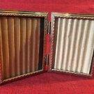 "Bi-fold vintage emboss gold metal double hinge 3x4"" frame photos picture wedding"