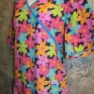 LIANA bright flower crossover bust back tie mock wrap scrub top nurse dental 1XL