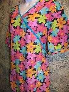 LIANA bright flower crossover bust back tie mock wrap scrub top nurse dental 1XL