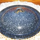 Vintage enamelware speckle dark blue pan kettle pot lid top replacement 8-9""
