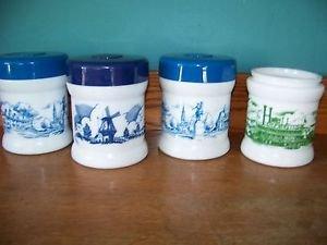 4 white milk glass cigar tabacco humidor canister jar windmills Boston riverboat