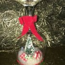 Shabby Chic cottage unique hand crafted snowglobe type bottle brush tree decor