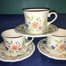 3 vintage SEARS French Country Ironstone blue peach flowers tea cup saucer sets