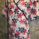 Floral mock wrap back tie SB Scrubs top nurse dental medical uniform women L