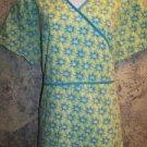 Bright green blue wrap tie vneck scrub top nurse dental medical uniform women XL