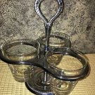 Vintage IRVINWARE condiment cady holder set Gourmet (lazy) Susan chrome glass