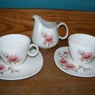 Creamer 2 cups saucers antique mid century KNOWLES Coral Pine pink flower retro