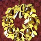 Vintage die cut filigree 3D wreath bells holly leaf ornament gold tone ribbon