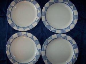 "4 PFALTZGRAFF sandwich dessert salad bread plates 8"" blue white checkered USA"